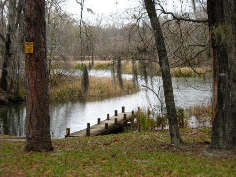Boat ramp and wooden dock to the Chattahoochee River at Buena Vista Park, Buena Vista Landing, Jackson County, Florida, 25 February 2012
