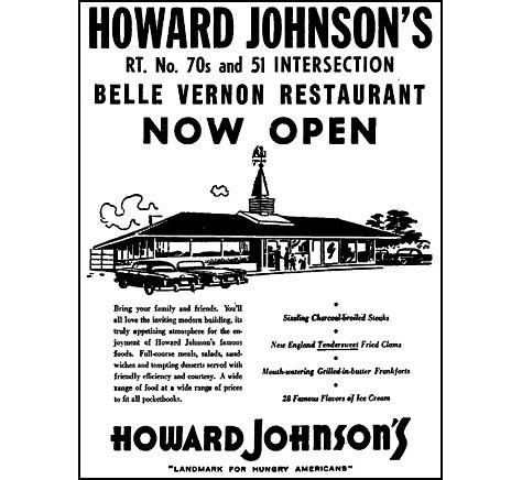 Photo Credit: Monessen Valley Independent — Belle Vernon Howard Johnson's 'now open' advertisement appearing on 14 December 1963