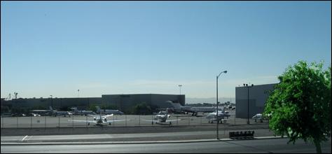 Photo Credit: David July — The western edge of McCarran International Airport from Room 313, Motel 6, 195 East Tropicana Boulevard, Las Vegas, Nevada, 23 July 2008